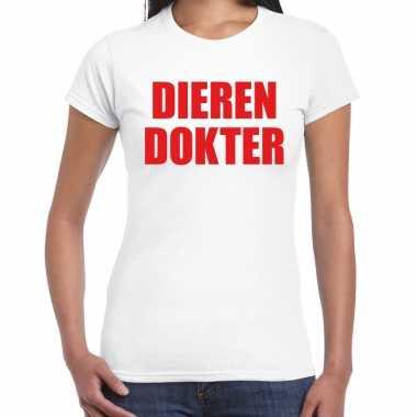Dierendokter verkleed t-shirt wit voor dames