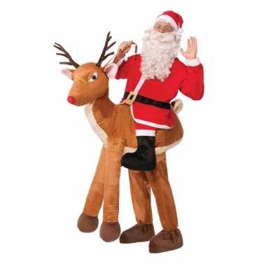 Instapkostuum kerstman op rendier voor volwassenen