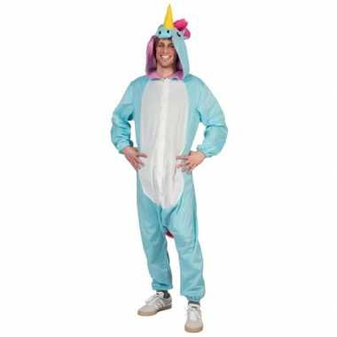 Verkleedpak blauwe eenhoorn voor heren